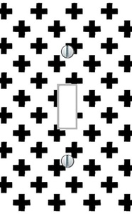 Single Light Switch Plate black and white crosses pop art living room bedroom kitchen dining family room teens room minimalist Home Decor USA made