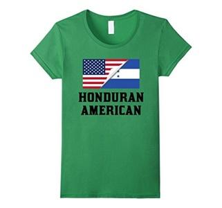 Women's Flags of Honduras And USA Honduran American T-Shirt Medium Grass