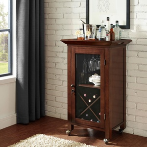 Hardwood Portable Bar Cabinet Cart- Hand Rubbed Mahogany Finish With Beveled Glass Doors Convenient Storage- Caster Wheels Make This Bar Completely Movable From Room to Room- Perfect Holiday Addition