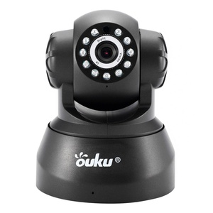 Black OUKU 720P Megapixel H.264 Wireless PT ONVIF CCTV Security IP Camera Two-Way Audio and Night Vision