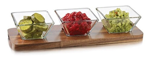 Libbey 4 Piece Acacia Wood Condiment Set, Clear by Libbey
