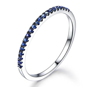 Classic Engegement Ring,Diamond Wedding Band,14K White Gold Half Eternity Sapphires Ring,Matching Band