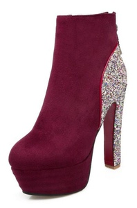 CHFSO Women's Sexy Sequins Waterproof Fully Fur Lined Round Toe Zipper High Heel Platform Ankle Winter Warm Boots Red 7.5 B(M) US
