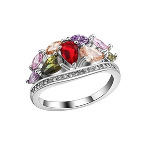 Full Crystal Colorful CZ Cublic Zircon Band Finger Ring For Wedding Bridal Engagement US Size 7/8/9