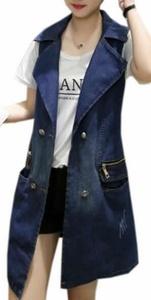 Cruiize Women's Fashion Plus Size Double Breasted Long Denim Vest blue XS