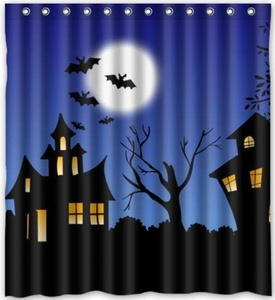 Hot Sale happy Halloween Gift Theme 100% Polyester Picture bathroom curtain Shower Curtain (66