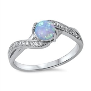 Womens Engagement Rings Lab Created Light Blue Opal Sterling Silver CZ Promise Wedding Band Size 4