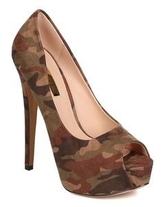 Liliana FF24 Women Faux Suede Camouflage Peep Toe Platform Stiletto Pump - Camouflage (Size: 6.0)