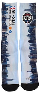For Bare Feet Mens NBA All Star Game 2015 Skyline Sublimated Crew Socks Blue