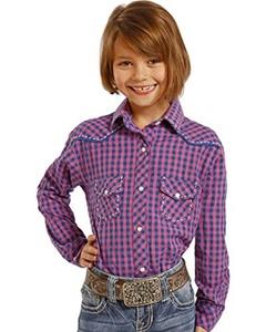 Panhandle Slim Girls' Checkered Plaid Western Shirt Print X-Large
