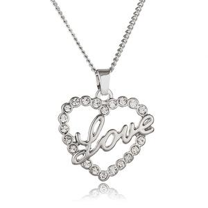 Rinhoo White Gold Plated Crystal Rhinestone Love Heart Pendant Necklace