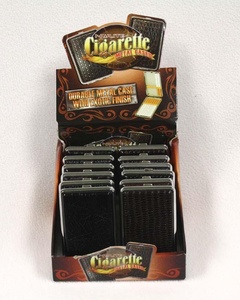 12 X Leather Metal Tobacco Cigarette Case Regular, king size Double Sided