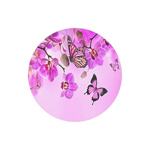Colorful Butterfly and Flower Customized Durable Cloth Cover Round Mouse Pad 9.84