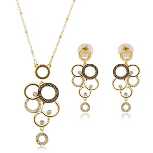 Circles Crystal Opal Jewelry Set Wedding Accessories Wedding jewelry Earrings + necklace