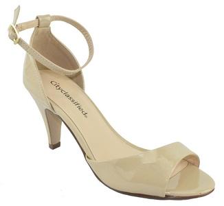City Classified Women Ankle Strap High Heels Open Toe Dress Sandals TUPPER Beige Patent Nude 6
