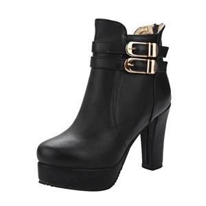 Show Shine Women's Graceful Zip High Chunky Heel Platform Ankle Boots (7, PU leather black)