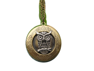 Owl Locket, brass locket, small locket, owl jewellery, bird locket, owl necklace