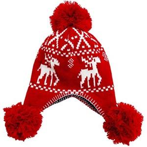 Simplicity Junior's Winter Knit Pompom Ski Snow Earflap Beanie Hat Red Reindeer