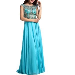 Beauty Bridal Women's Beading Long Prom Dress Chiffon Evening Gown (10,Ice Blue)