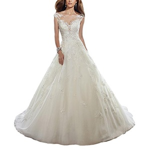 AbaoWedding Lace Applique Beading A-line Chapel Train Satin Bridal Dress Size 6 Ivory