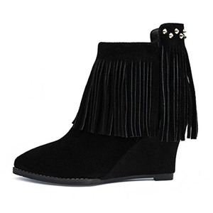YONG Pointed wedges boots high heel nubuck leather tassels leather booties rivet cow skull patch zip women's boots , black , 36