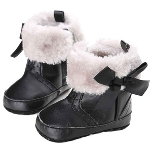 DEESEE(TM) Baby shoesKeep Warm Soft Sole Snow Boots Soft Crib Shoes Toddler Boots (0~6 Month, Black)