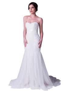 ALBIZIA White Tulle Beading Sleeveless Chapel Train Mermaid Bridal Wedding Dress (16, White)