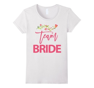 Women's Team Bride Bachelorette Party Shirts With Flowers Medium White