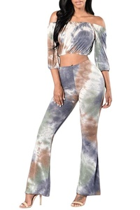 VamJump Women Tie Dye Off Shoulder Long Sleeve Crop Top Flare Pants Outffits