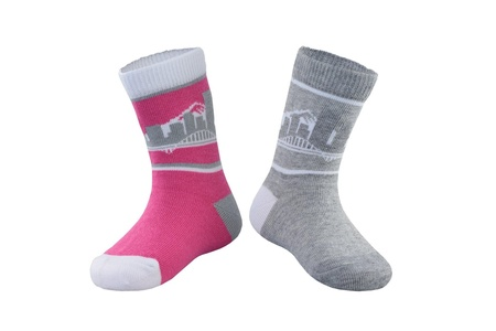 SKYLINE SOCKS Unisex Baby Portland Mini Pink Grey and White