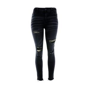 Cello Jeans - Women's Slit Rips Fray Bottom Skinny - Dark