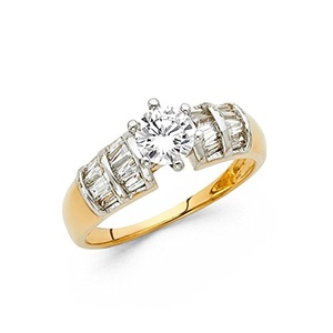 Ladies 5mm 14K Solid Yellow Gold Cubic Zirconia with Baguette Side Stones Engagement Wedding Ring, Size 4