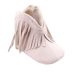 Rukiwa Toddler Infant Newborn Baby Girl Shoes Soft Sole Boots Prewalker Tassel (13, Beige)