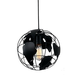 Unitary Brand Black Modern Metal Globe Kids Pendant Light with 1 E26 Bulb Socket 40W Painted Finish