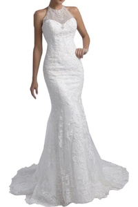 Gorgeous Bridal Mermaid Halter Long Trailing Embroidery Bridal Wedding Dress- US Size 22W