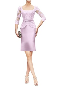 MILANO BRIDE Wedding Party Dress Square-Neck 3/4 Sleeves Lace Formal Prom Gown-4-Lilac(short)