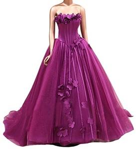 Dreamdre Women's Strapless Corset Flowers Basque Waist Tulle Color Wedding Dress Fuchsia US12