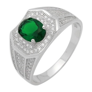 Halo Men Ring Oval Simulated Green Emerald Round Cubic Zirconia 925 Sterling Silver