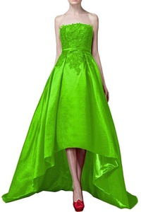 Audrey Bride Chic Strapless Prom Party Dresses Hi Low Party Gowns Evening Gowns-18W-Shiny Green