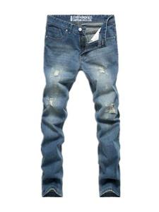 Men's Destroyed Broken Ripped Light Blue Fit Denim Skinny Jeans