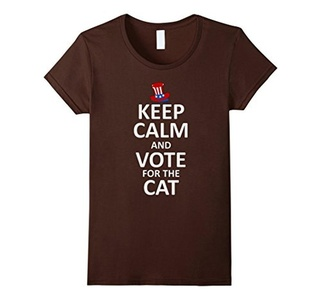Women's Keep Calm and Vote for the Cat T-Shirt Large Brown
