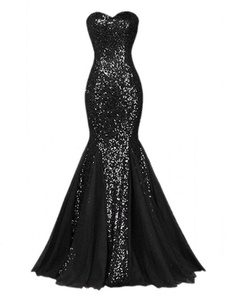 Winnie Bride Sparkly Sequins Evening Prom Ball Gown Mermaid Long Formal Dress-14-Black