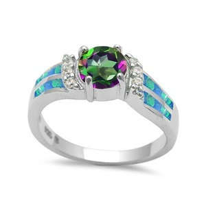 Solitaire Engagement Ring Round Rainbow Cubic Zirconia Lab Created Blue Opal Round CZ 925 Sterling Silver