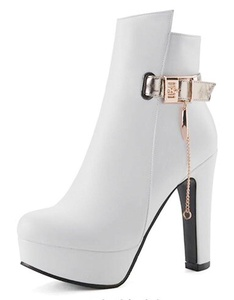 CHFSO Women's Fashion Solid Round Toe Chains Buckle Zipper High Chunky Heel Platform Ankle Boots White 6.5 B(M) US