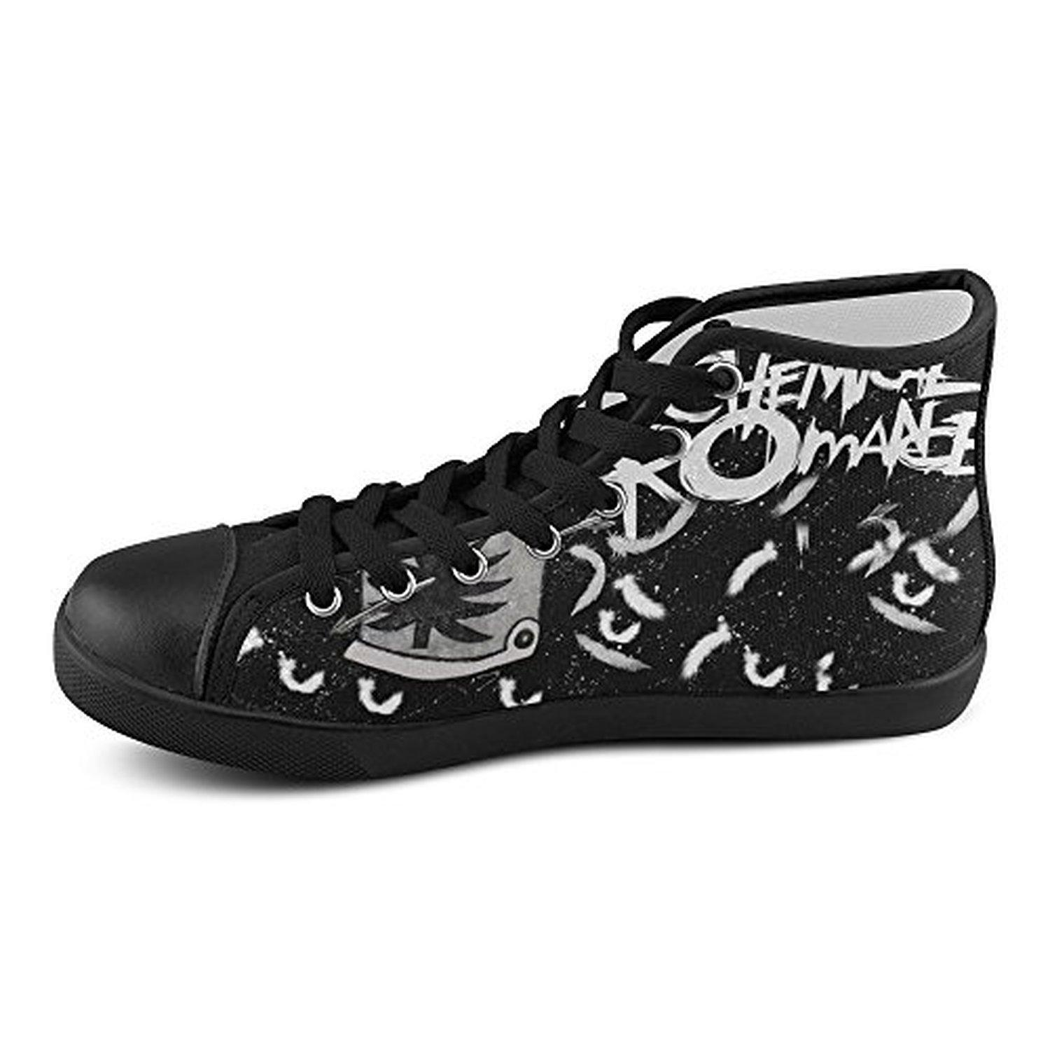 H-ome Art My Chemical Romance Band Women's High-top Lace-Up Canvas Shoes Breathable Flats,Black