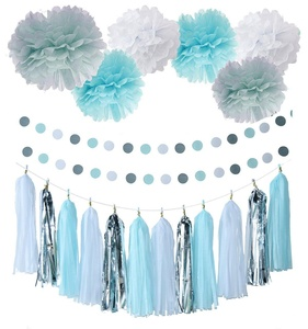 20pcs Baby Blue White Grey Baby Boy Baby Shower/Party Paper Decorations First Birthday Boy Decorations Tissue Paper Pom Pom Tassel Garland Circle Paper Garland Baby Shower Decorations Boy