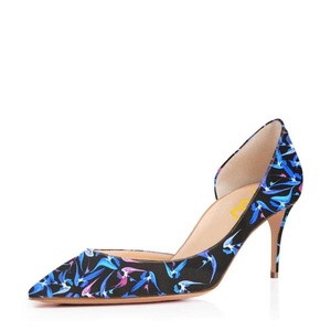FSJ Fashion D'orsay Pumps Multicolored Mid Heels Party Dress Shoes for Women 8 CM 11 Sizes