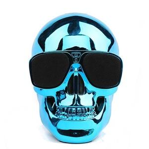 Miyare Creative Gifts Skeleton Head Bluetooth Speakers, Wireless Portable SpeakersStereo Super Bass Subwoofer Hi-Fi Sound Speaker (bule)