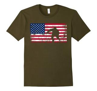 Men's American Flag Hockey T-shirt - Hockey Team Gift XL Olive