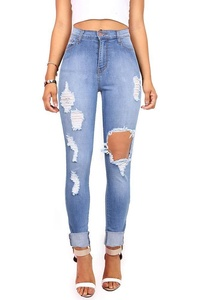 Vibrant Women's Juniors Ripped New High Rise Skinny Jeans (XXX-Large, Denim)